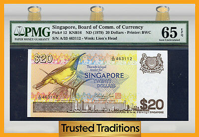 "Tt Pk 12 1979 Singapore 20 Dollars ""airplane"" ""sunbird"" Pmg 65 Epq Gem"