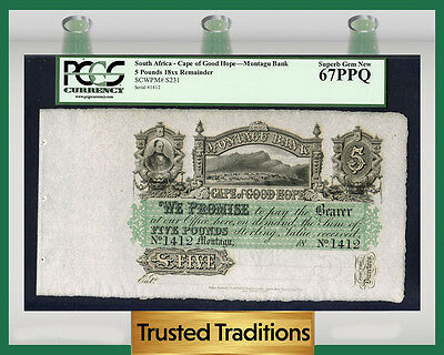 Tt Pk S231 South Africa Cape Of Good Hope Montagu Bank 5 Pounds Pcgs 67 Ppq