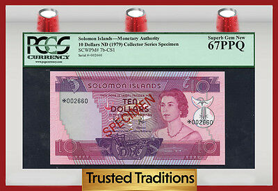 "TT PK 7b-CS1 1979 SOLOMON ISLANDS 10 DOLLARS ""QUEEN ELIZABETH II"" PCGS 67 PPQ!"