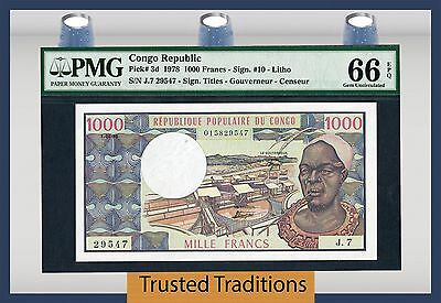 TT PK 3d 1978 CONGO REPUBLIC 1000 FRANCS PMG 66 EPQ GEM UNCIRCULATED POP THREE