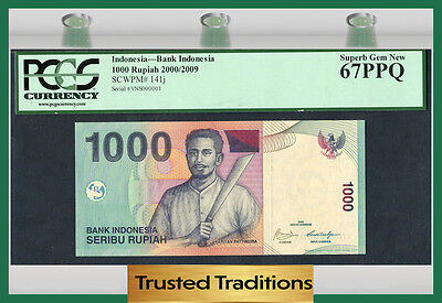 TT INDONESIA SERIAL #'s COMPLETE SET 6 NOTES PCGS 58, 65, 66 AND 67 PPQ