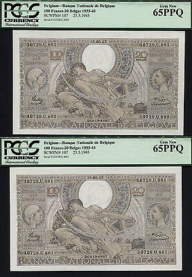 Tt Pk 107 1933-43 Belgium 100 Francs - 20 Belgas Pcgs 65 Ppq Gem New Set Of Two!