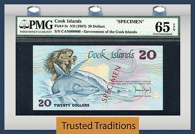 "TT PK 5s 1987 COOK ISLANDS 20 DOLLARS ""SPECIMEN"" PMG 65 EPQ GEM UNCIRCULATED"