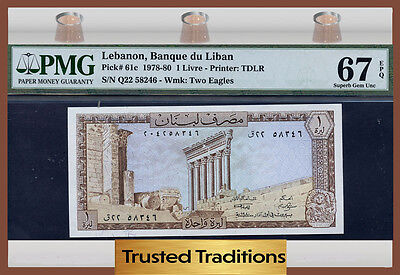 TT PK 61c 1978-80 LEBANON 1 LIVRE PMG 67 EPQ SUPERB GEM POP ONE FINEST KNOWN!