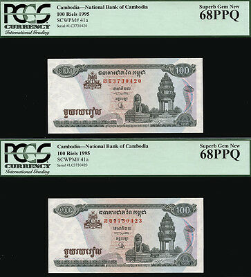 TT PK 41a 1995 CAMBODIA 100 RIELS PCGS 68 PPQ SUPERB GEM NEW SET OF TWO NOTES!