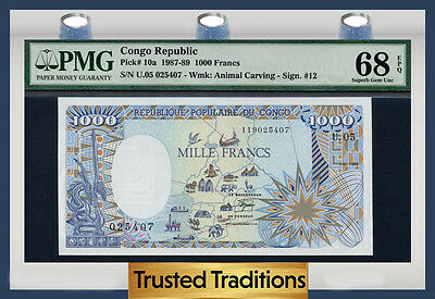 "TT PK 10a 1987-89 CONGO REPUBLIC 1000 FRANCS ""HUGE ELEPHANT"" PMG 68 EPQ TOP POP"