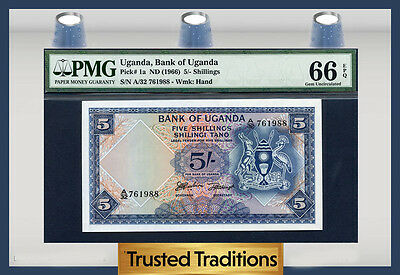 TT PK 1a 1966 UGANDA 5/- SHILLINGS PMG 66 EPQ GEM POP THREE NONE GRADED FINER!