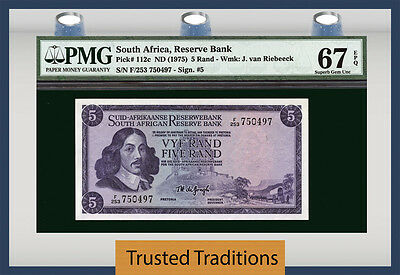 "TT PK 112c 1975 SOUTH AFRICA 5 RAND ""JAN VAN RIEBEECK PMG 67 EPQ SUPERB GEM UNC"