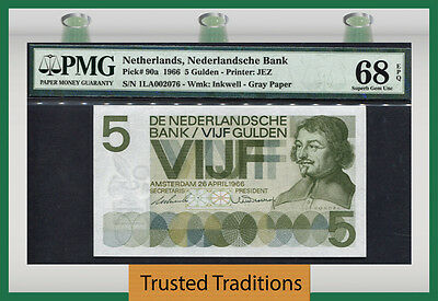 "TT PK 90a 1966 NETHERLANDS 5 GULDEN ""VONDEL"" PMG 68 EPQ SUPERB GEM NONE FINER"