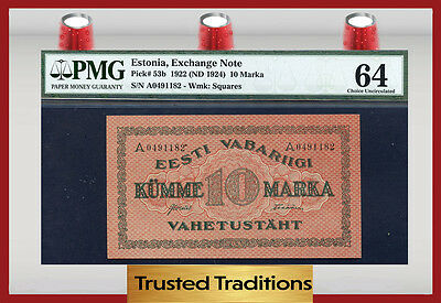 TT PK 53b 1922 ESTONIA EXCHANGE NOTE 10 MARKA PMG 64 CHOICE UNCIRCULATED