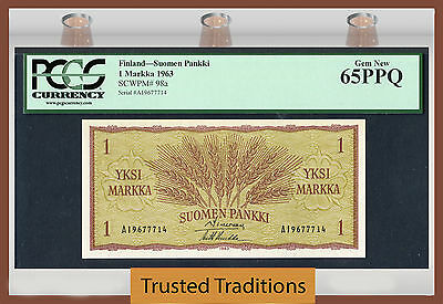 "TT PK 98a 1963 FINLAND 1 MARKKA ""WHEAT EARS"" PCGS 65 PPQ GEM NEW"