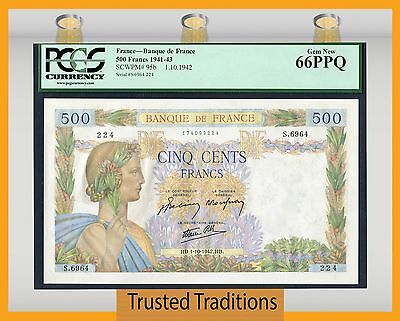 TT PK 95b 1941-43 FRANCE 500 FRANCS PCGS 66 PPQ GEM NEW