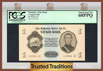 Tt Pk 28 1955 Mongolia State Bank 1 Tugrik Pcgs 68 Ppq Pop One Finest Known!