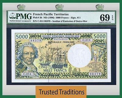 TT PK 3h 1996 FRENCH PACIFIC TERRITORIES 5000 FRANCS PMG 69 EPQ FINEST KNOWN