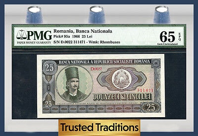 TT PK 95a 1966 ROMANIA NATIONAL BANK 25 LEI PMG  65 EPQ GEM UNCIRCULATED