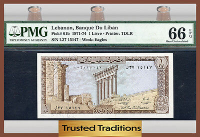 TT PK 61b 1971-74 LEBANON 1 LIVRE PMG 66 EPQ GEM UNCIRCULATED NONE FINER!