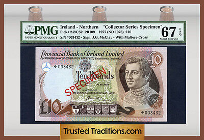 "Tt Pk 249Cs2 1977 Northern Ireland 10 Pounds ""specimen"" Pmg 67 Epq Superb!"