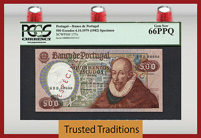 TT PK 177s 1979 PORTUGAL 500 ESCUDOS SPECIMEN PCGS 66 PPQ ONLY ONE IN GEM NEW