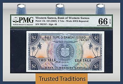 TT PK 17b 1967 WESTERN SAMOA 2 TALA PMG 66 EPQ GEM UNCIRCULATED FINEST KNOWN!