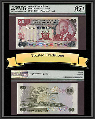 TT  PK 22a 1980 KENYA 50/ SHILLINGS PMG 67 EPQ SUPERB GEM POP ONE NONE FINER