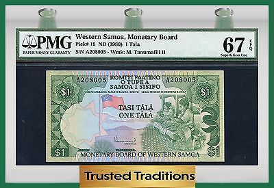 Tt Pk 19 1980 Western Samoa 1 Tala Pmg 67 Epq Superb Gem Uncirculated Pop Two