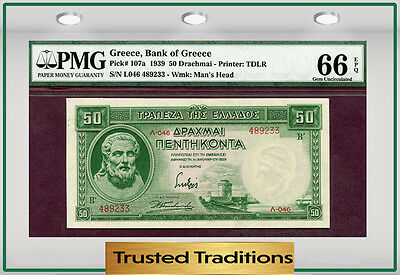 TT PK 107a 1939 GREECE BANK OF GREECE 50 DRACHMAI PMG 66 EPQ GEM