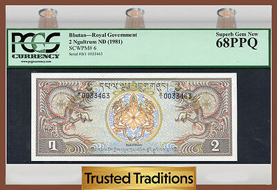 Tt Pk 6 1981 Bhutan Royal Government 2 Ngultrum Pcgs 68 Ppq Superb Gem New!