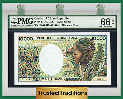 Tt Pk 13 1983 Central African Republic 10000 Francs Pmg 66 Epq None Finer!