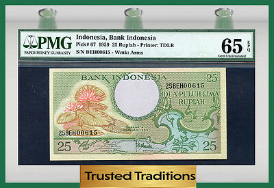 Tt Pk 67 1959 Indonesia 25 Rupiah Bank Indonesia Pmg 65 Epq Gem Uncirculated!