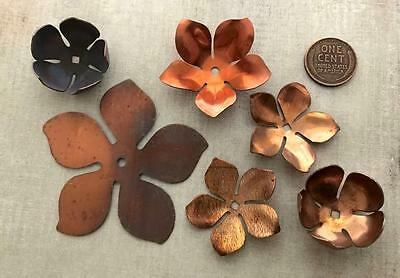 Vintage Large 26 - 60mm Copper Tone Metal Stackable Flower Beads Mix 6