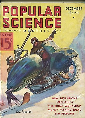 POPULAR SCIENCE 12/1936-PULP STYLE MOTORCYCLE COVER-9 X 12-vg