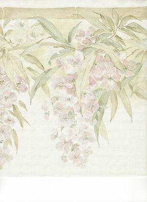 Pink Satin Wisteria Floral on Cream Wallpaper Border ONB55933
