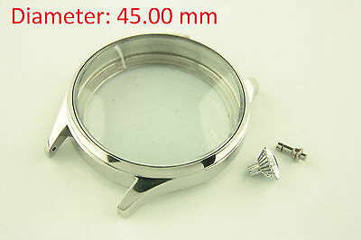 Stainless steel Case 45mm for Antique Pocket Watch Movements strap 22mm