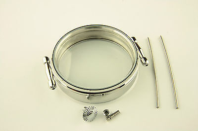 Stainless steel Case 47mm for Antique Pocket Watch Movements strap 22mm