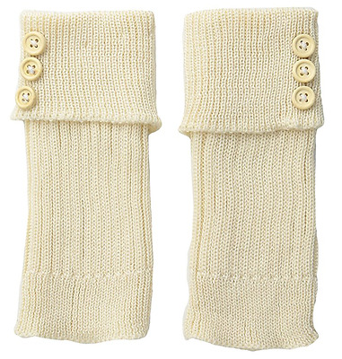 K. Bell Women's Turn Cuff and Button Boot Cuff (Off-White, Shoe Size 4-10)
