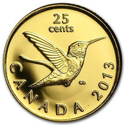 Canada 2013 25 Cents Hummingbird  Gold Proof Coin   A1210