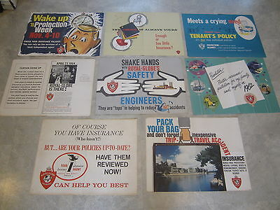 Set of 8 Old Vintage 1960's ROYAL GLOBE INSURANCE Co. Advertising POSTERS
