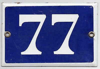 Old blue French house number 77 door gate plate plaque enamel metal sign steel