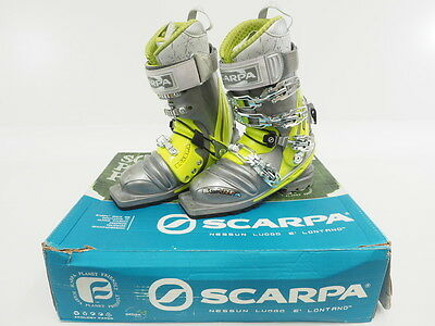 New! Scarpa Women's 3 Pin T1 Telemark Touring Boots Silver/Green Size 22.5