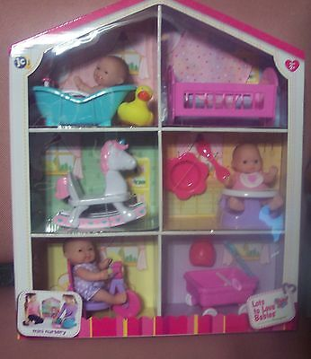 "NEW ITEM Berenguer JC Lots to Love Mini Nursery Playset 5"" Doll House DisplayNIB"
