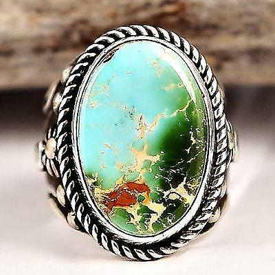Albert  Jake Natural Royston Turquoise RING Sterling Silver Native American 8