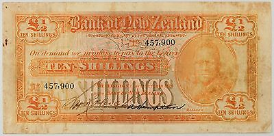 New Zealand - P-s231 1/2 Pound - Ten Shillings 1/10/1924 FINE