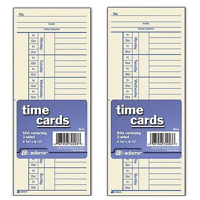 500 x 2 = 1000 2 Sided Time Cards Employee Punch Payroll Amano Clock Adams 9664A