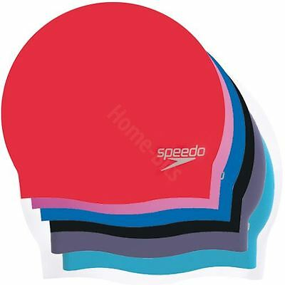 Speedo Adult Moulded Swim Cap Silicone Swimming Pool Hat Plain New