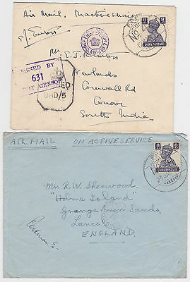 2x INDIA FIELD POST OFFICE FPO No. 41 KGVI 8 As CENSORED ACTIVE SERVICE COVERS