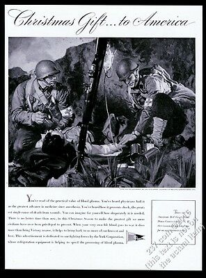 1944 US Army medic wounded soldier Les Schlaiker art Red Cross/York print ad