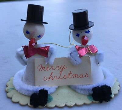 Rare Vintage Japan Snowmen With Top Hat And Bow Tie Merry Christmas Ornament