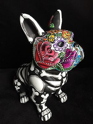 Hand painted Day Of The Dead French Bulldog Statue Frenchie Sugar Skull Ooak