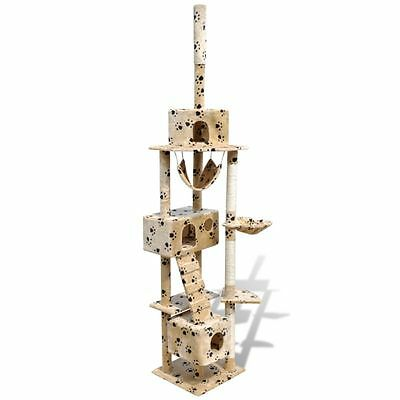 Arbre à chat en beige avec empreinte de patte 220-240 cm 3 niches NEUF