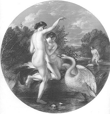 NAKED NUDE WOMEN GIRLS PLAY w SWAN by FOREST POND ~ Old 1849 Art Print Engraving